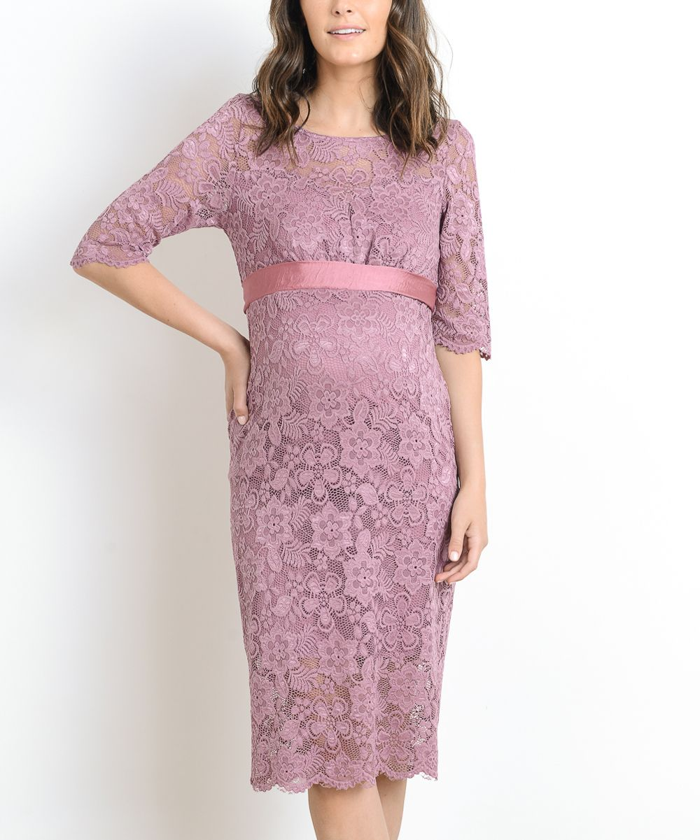 Mauve floral lace satinwaist maternity dress maternity dresses