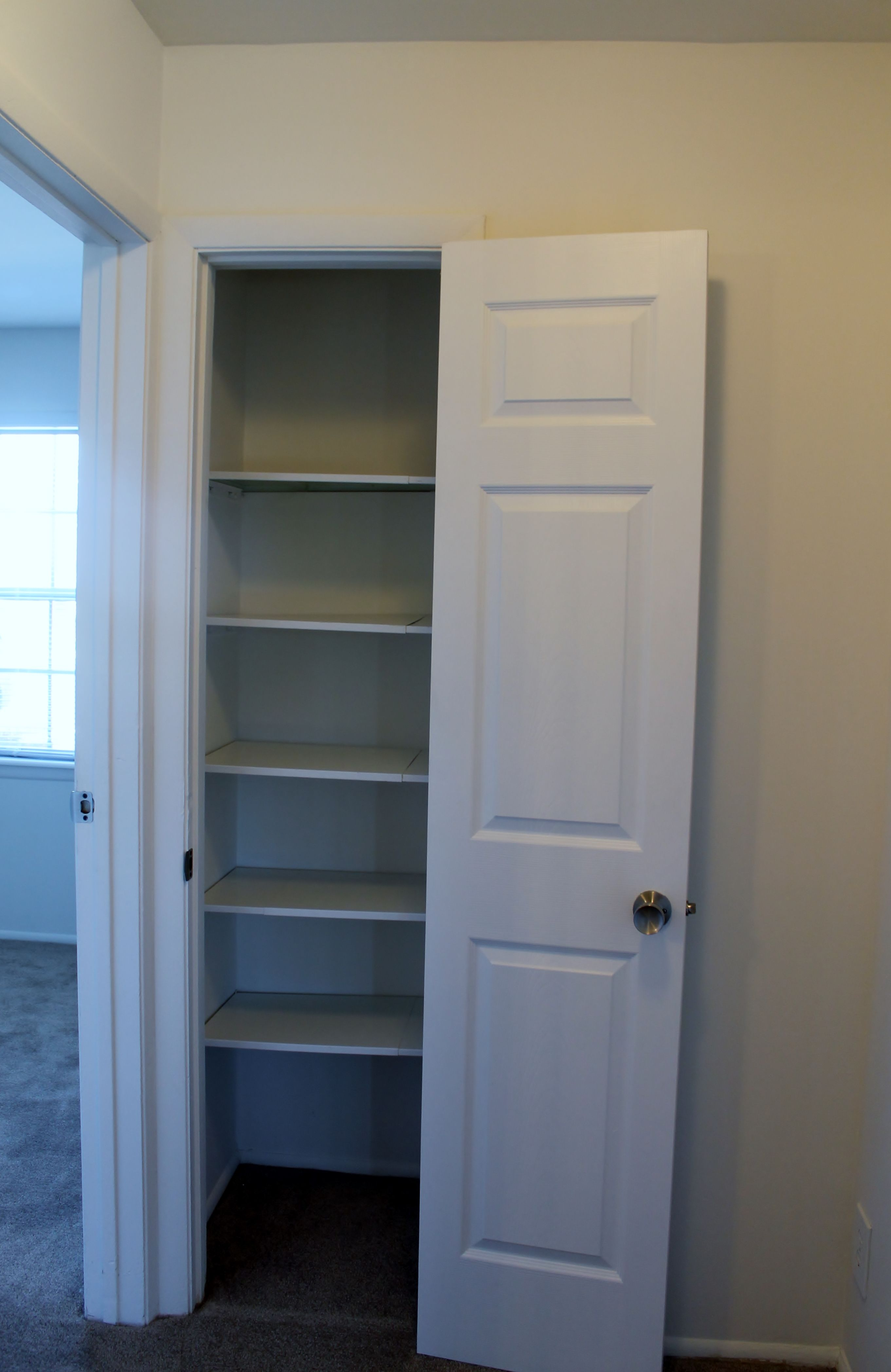 The obvious linen closet with sturdy shelves and white paneled doors The not so obvious there are TWO linen hall closets and the second one is twice the