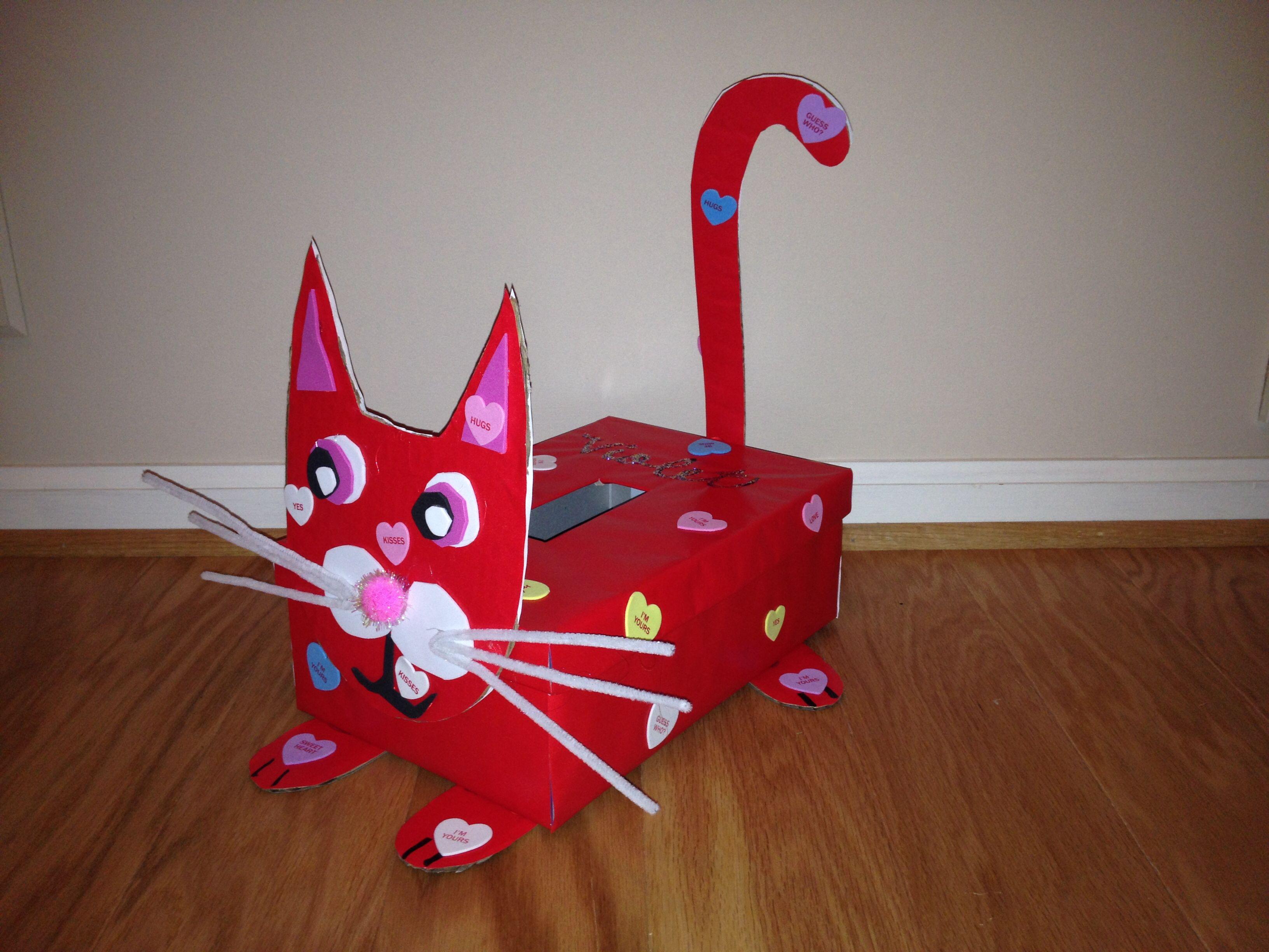 Kitty cat valentineus day exchange box crafts pinterest