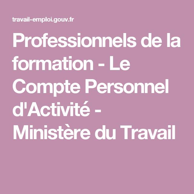 Professionnels De La Formation Le Compte Personnel D Activite Ministere Du Travail La Formation Formation Continue Formation Professionnelle