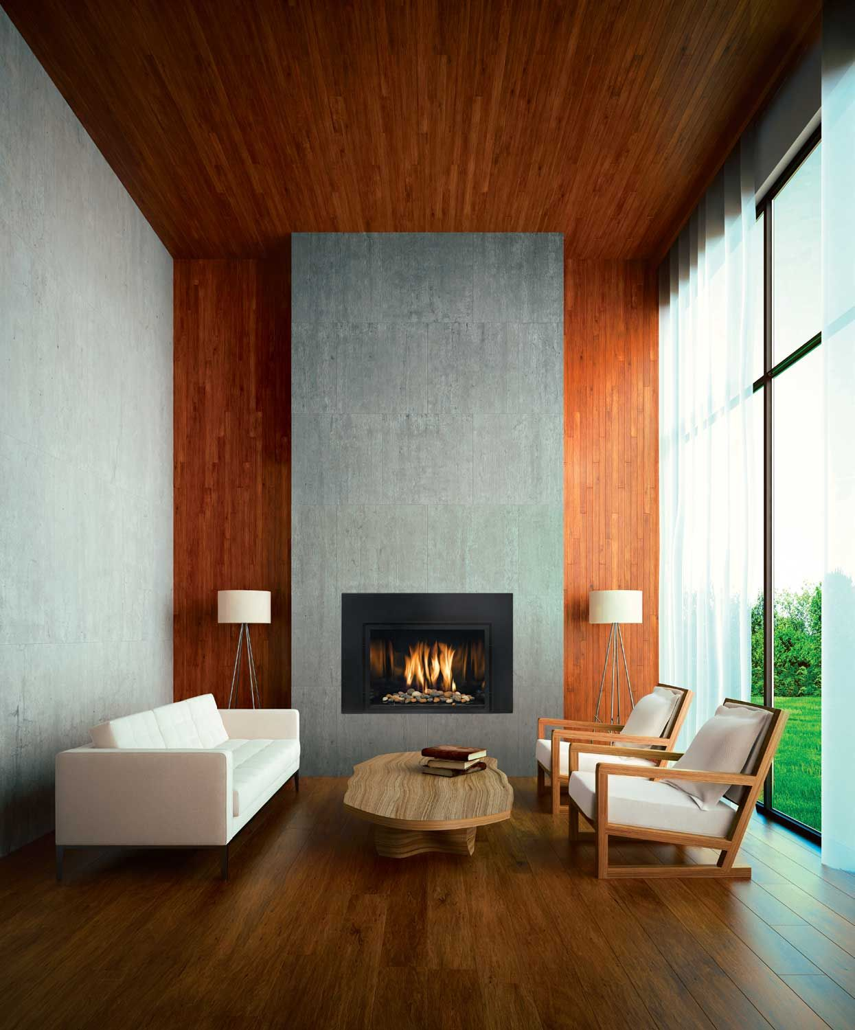 An elegant contemporary fireplace insert that s smarter Contemporary wood fireplace insert
