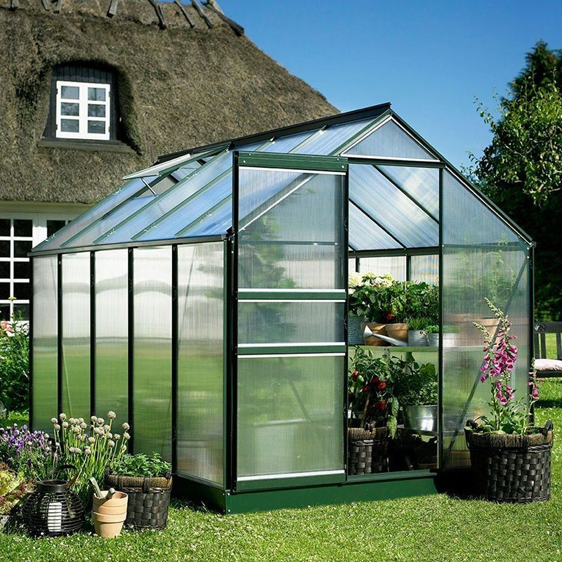 Halls Popular Greenhouse 6 Wide X 8 Long Green Frame Small