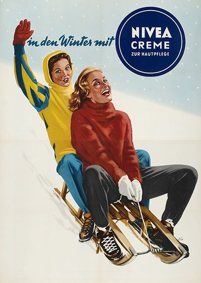 In den Winter mit Nivea Creme P. Beiersdorf & Co. GmbH, Wien. Design Witt od. Witte, Austria 1955. Via plakatkontor.de
