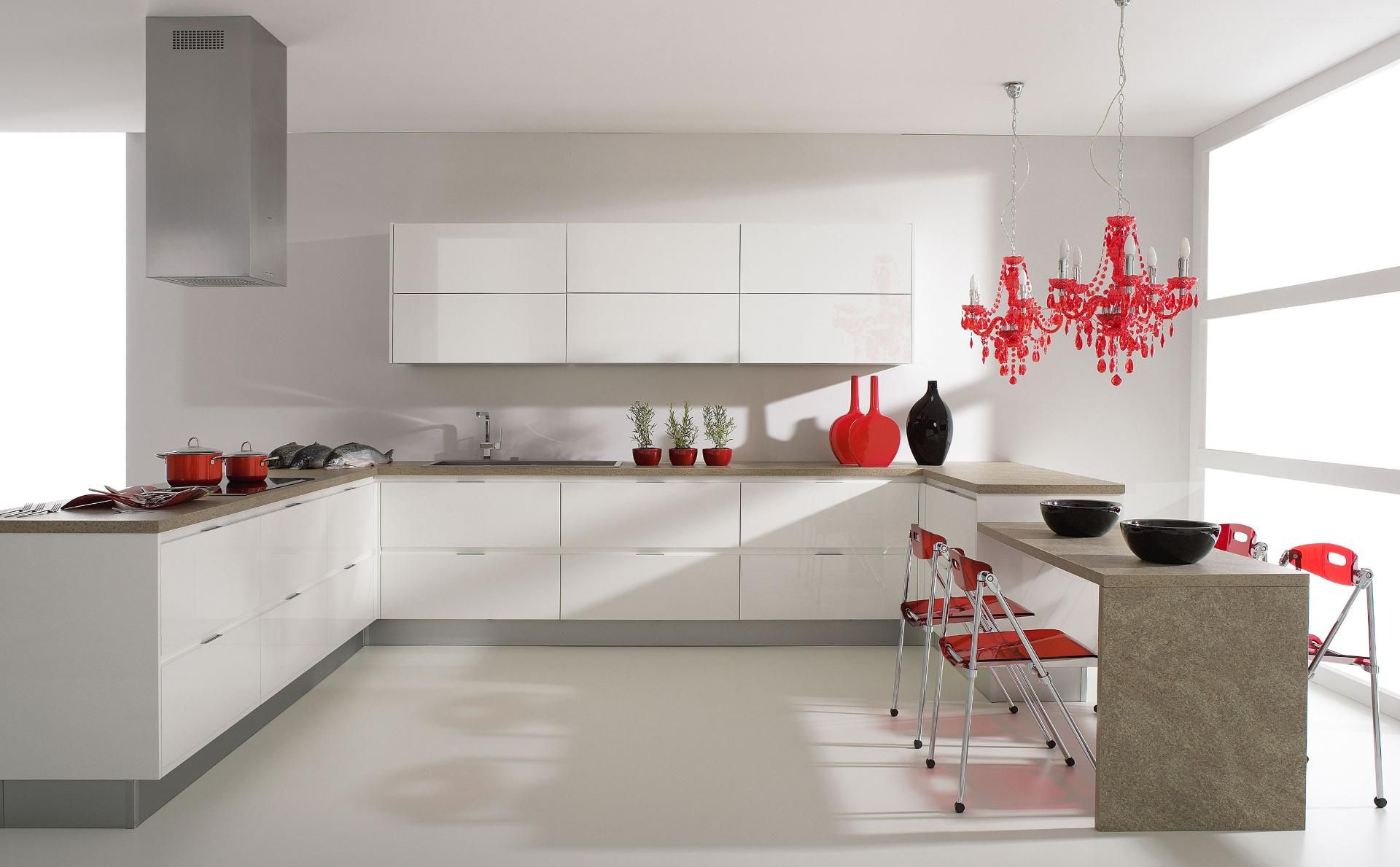 Modern Glossy White European Style Kitchen Cabinet Inspiration In