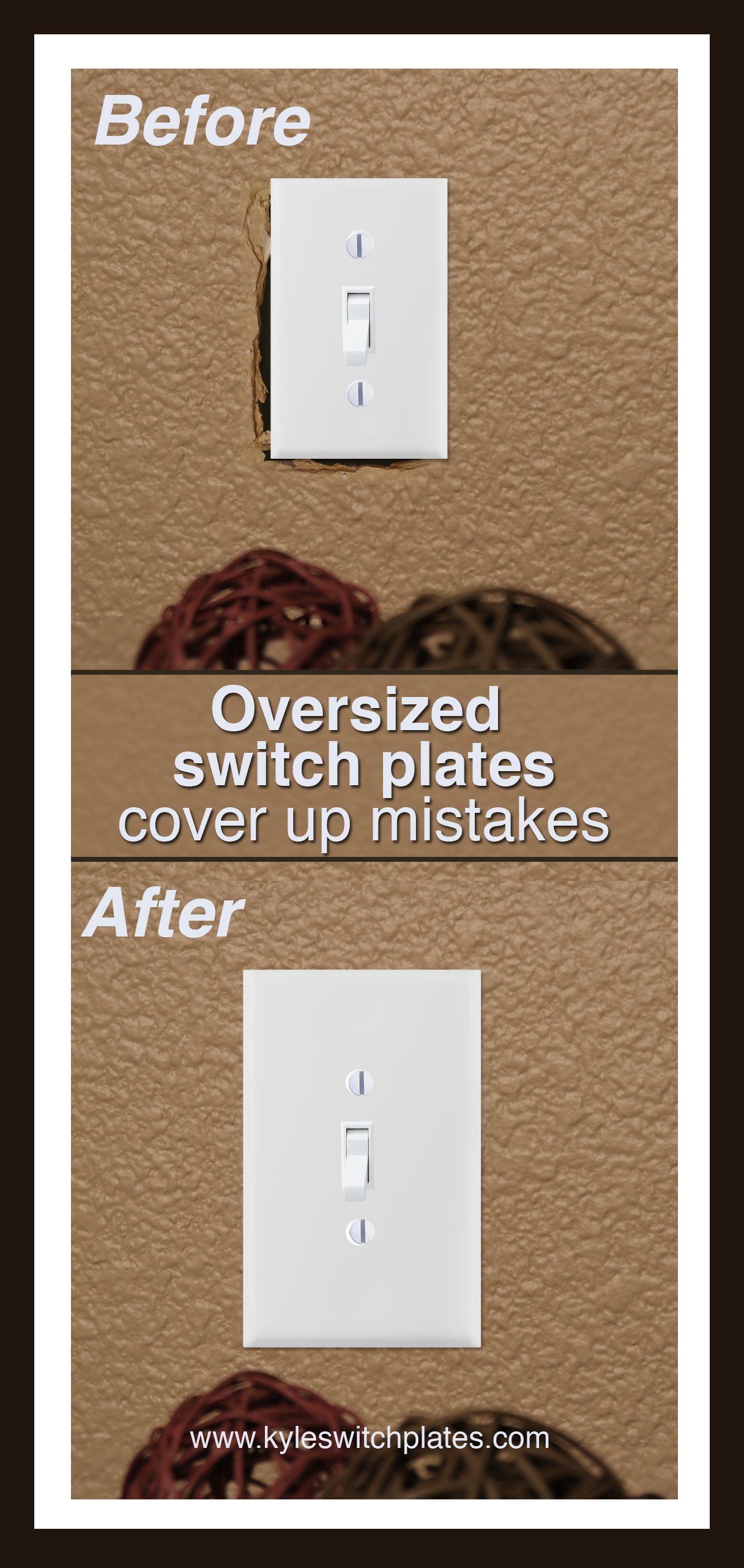 medium resolution of oversized light switch plates outlet covers cover up hole in wall that s bigger than your electrical box