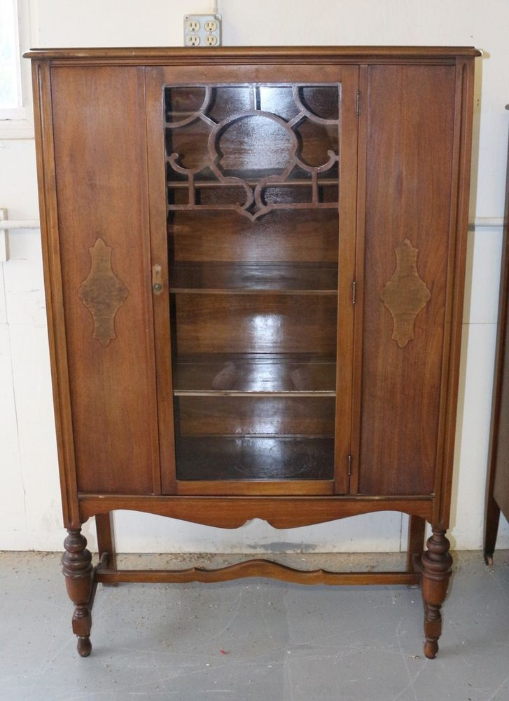 ANTIQUE SOLID WOOD CHINA CABINET SCROLL GLASS FRONT | Vintage ...