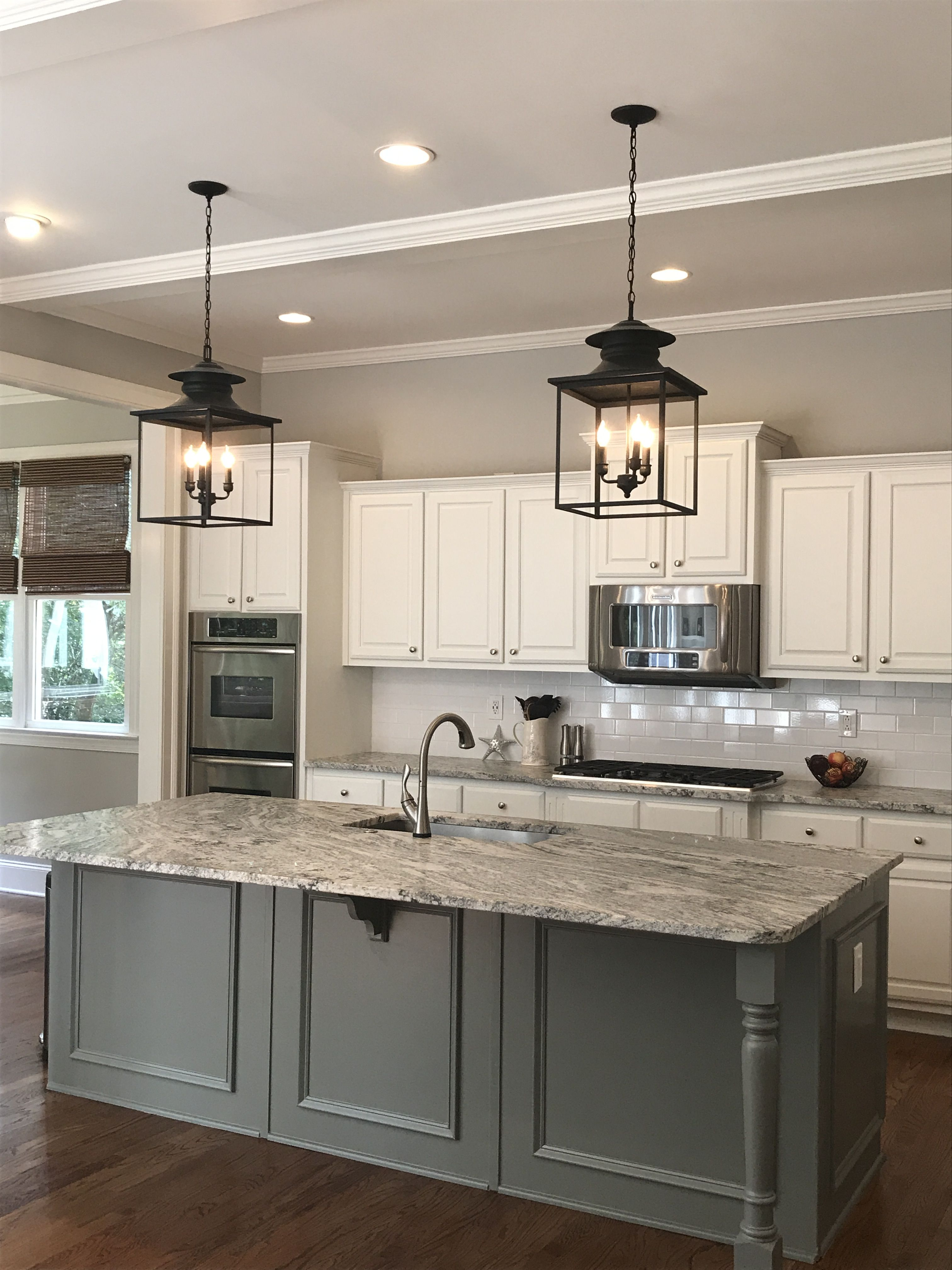 walls bm stonington gray cabinets trim ceiling bm chantilly lace island bm s grey on kitchen cabinets trim id=15518