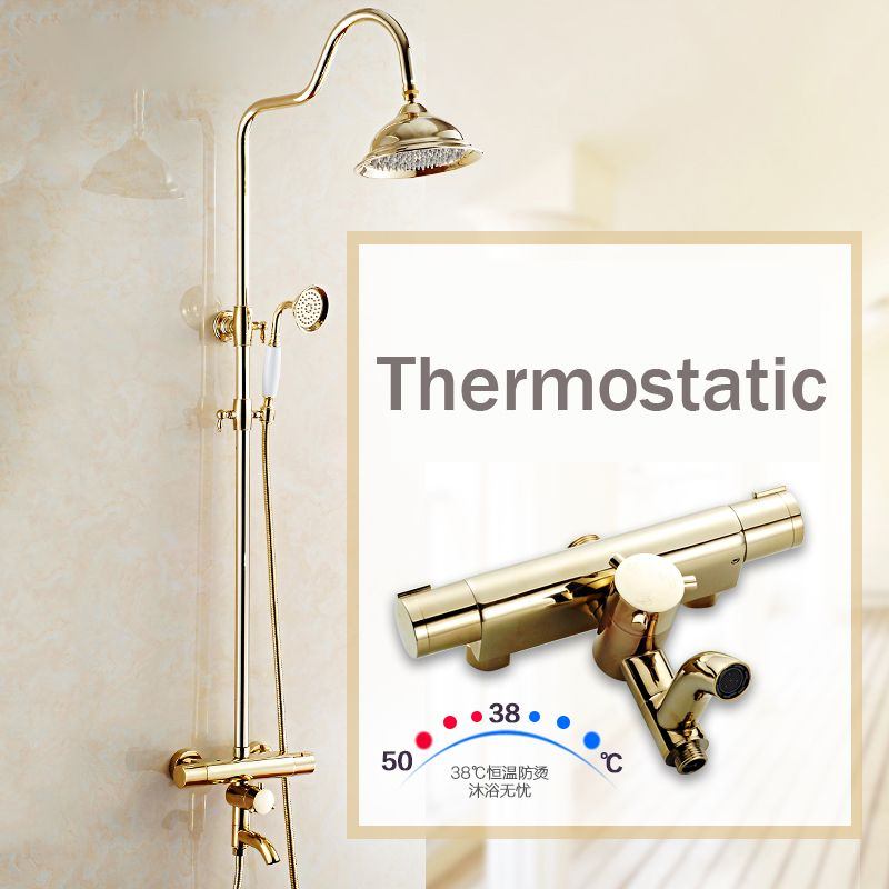 Newly Golden Thermostatic Shower Faucet Set Dual Handle Temperature ...