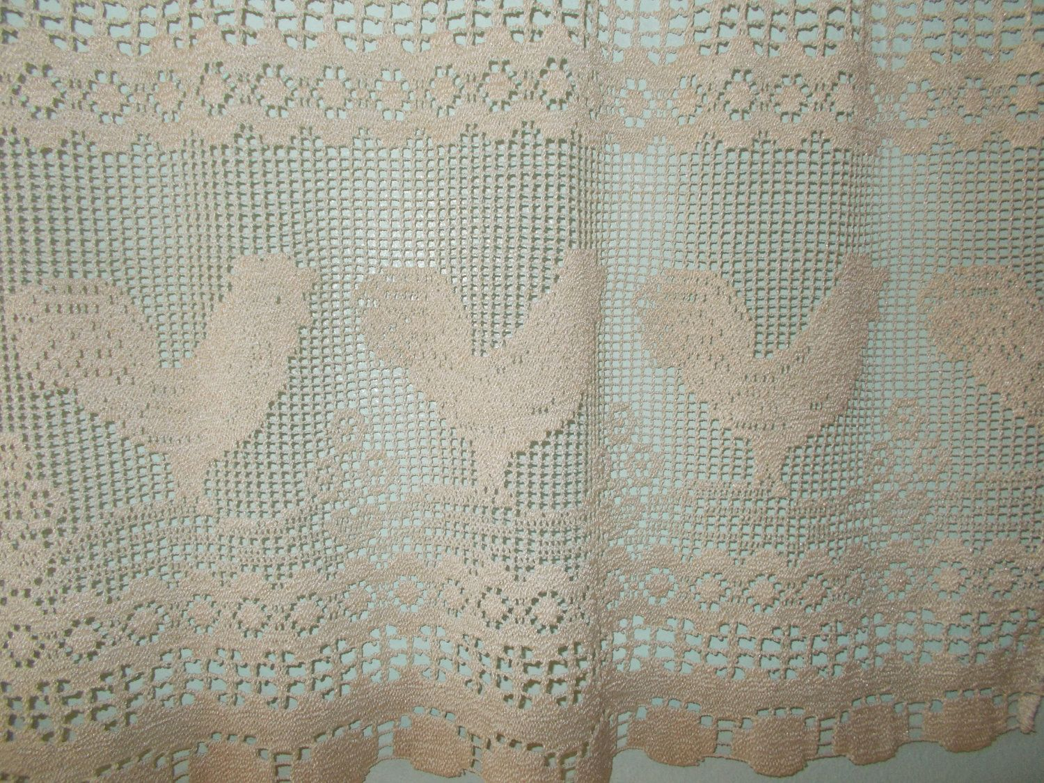 Crochet Cafe Curtain Chicken Design French Country