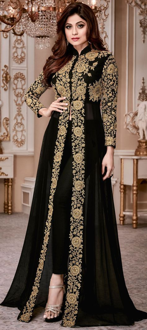 Georgette Bollywood Salwar Kameez in Black and Grey with Thread work