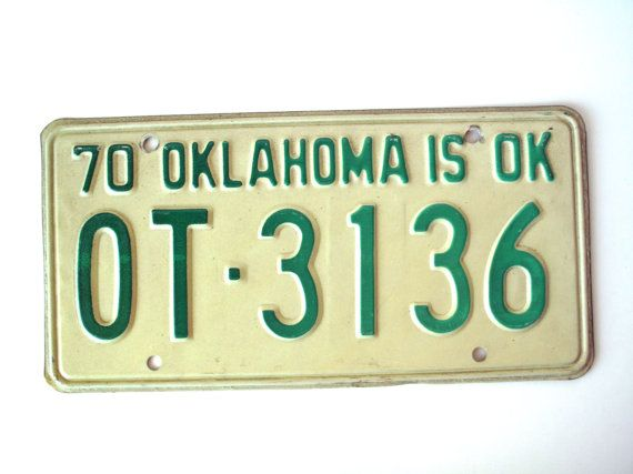 Vintage 1970 Oklahoma License Plate OT 3136 by PoorLittleRobin, $10.00