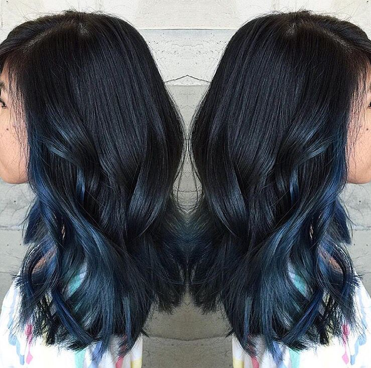 Dark Blue Peekaboo Blue Dip Dye Hair Blue Ombre Hair Dark