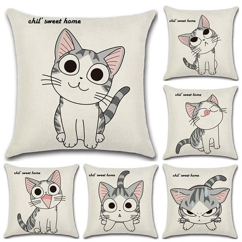 Cartoon Cat Cushion Cover For Home Sofa Car Decorative Animal Pillow Case Cotton Linen Childen Throw