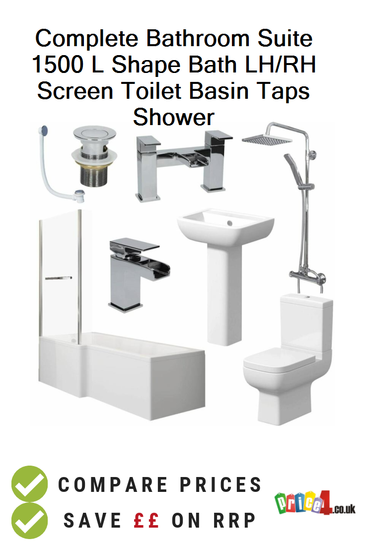 Complete Bathroom Suite 1500 L Shape Bath Lh Rh Screen Toilet Basin Taps Shower Uk Prices Shower Basin Bathroom Suite L Shaped Bathroom