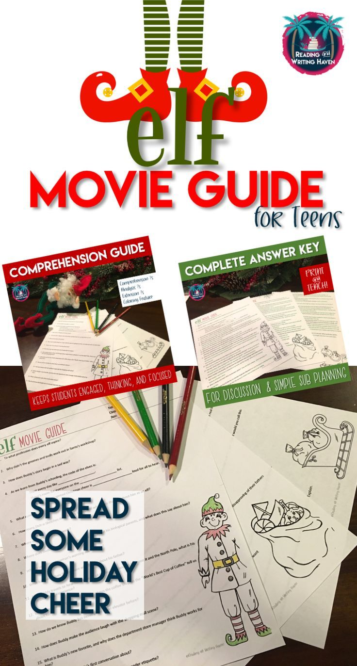 Elf Movie Guide and Answer Key with Comprehension and