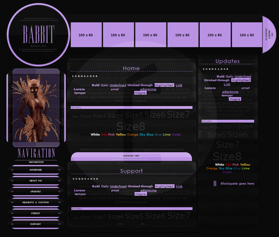 Layout by Kya@IMVU, via her dA site  | [Homepages] in 2019