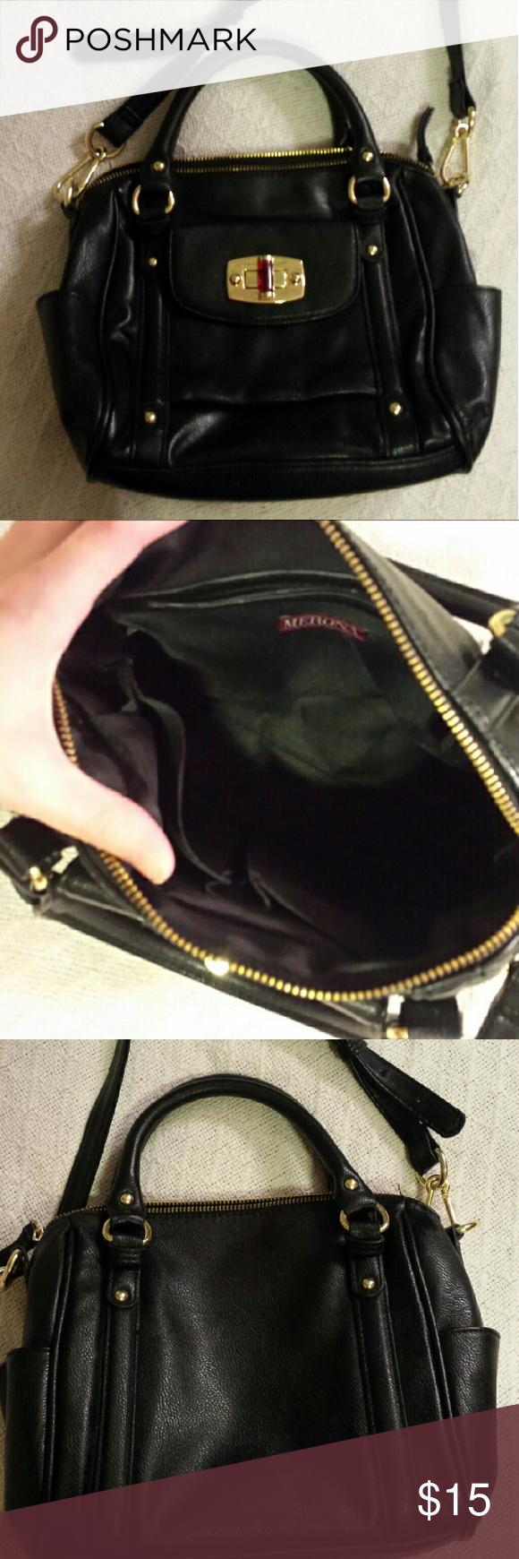 d25fa43334 Black and Gold Merona Satchel Crossbody purse Merona brand satchel purse  with detachable strap to be used as a crossbody bag. Gold hardware.