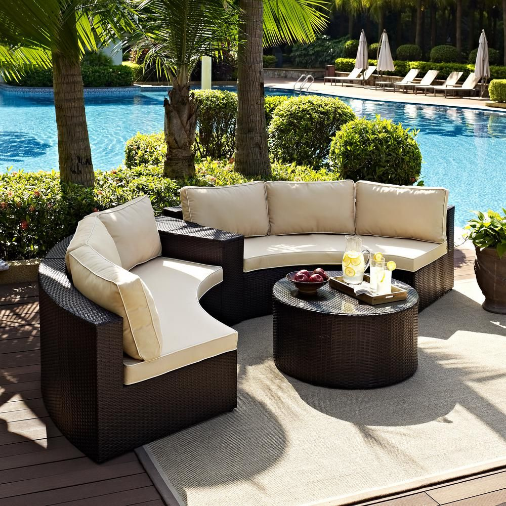 Crosley Catalina 4 Piece Wicker Outdoor Sectional Set With Sand