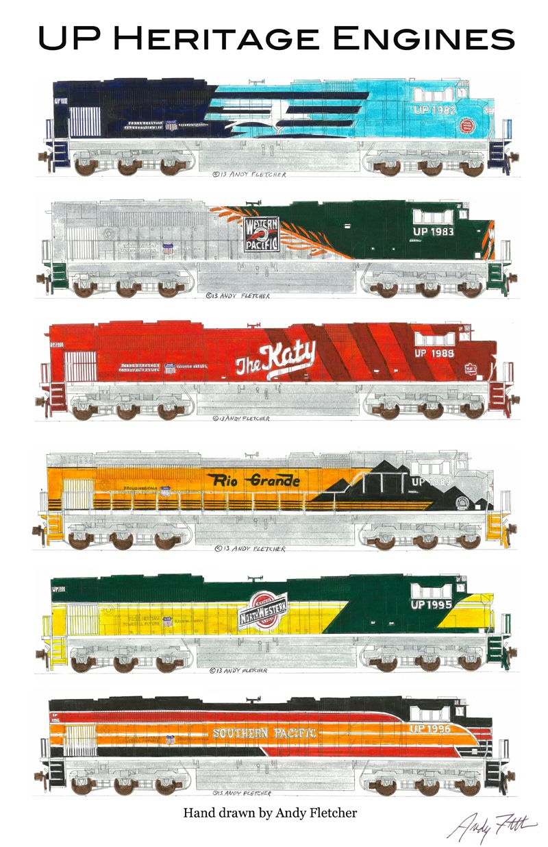 6 hand draw Union Pacific Heritage engine drawings by Andy Fletcher