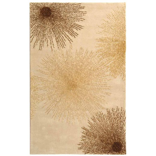 Refresh your floors with this handmade New Zealand wool rug. It features a great art deco burst design in tones of gold, ivory, and brown and has a cotton backing for durability. The fringeless border will give your home or office a clean, elegant look.
