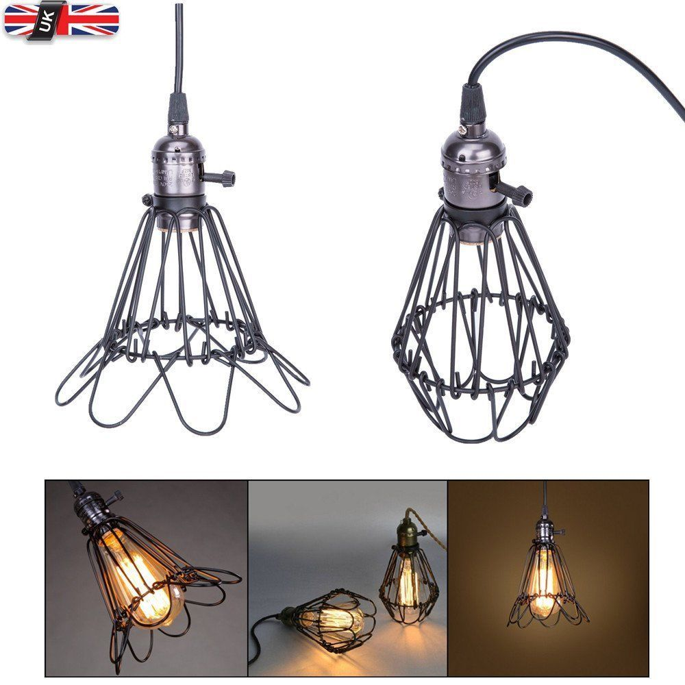 Vintage Industrial Cage Wire Ceiling Pendant Light Hanging Chandelier Lamp Shade Ebay Industrial Pendant Lights Ceiling Lights Lamp Light