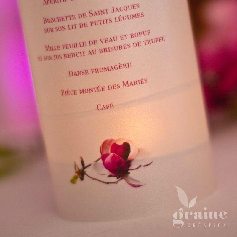 Menu photophore sur le thème fleuri Magnolia