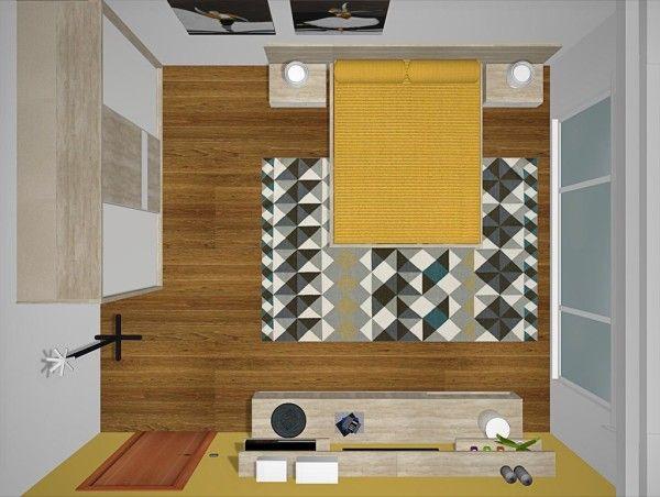 Vista superior del proyecto 3D del dormitorio con muebles de salón ...