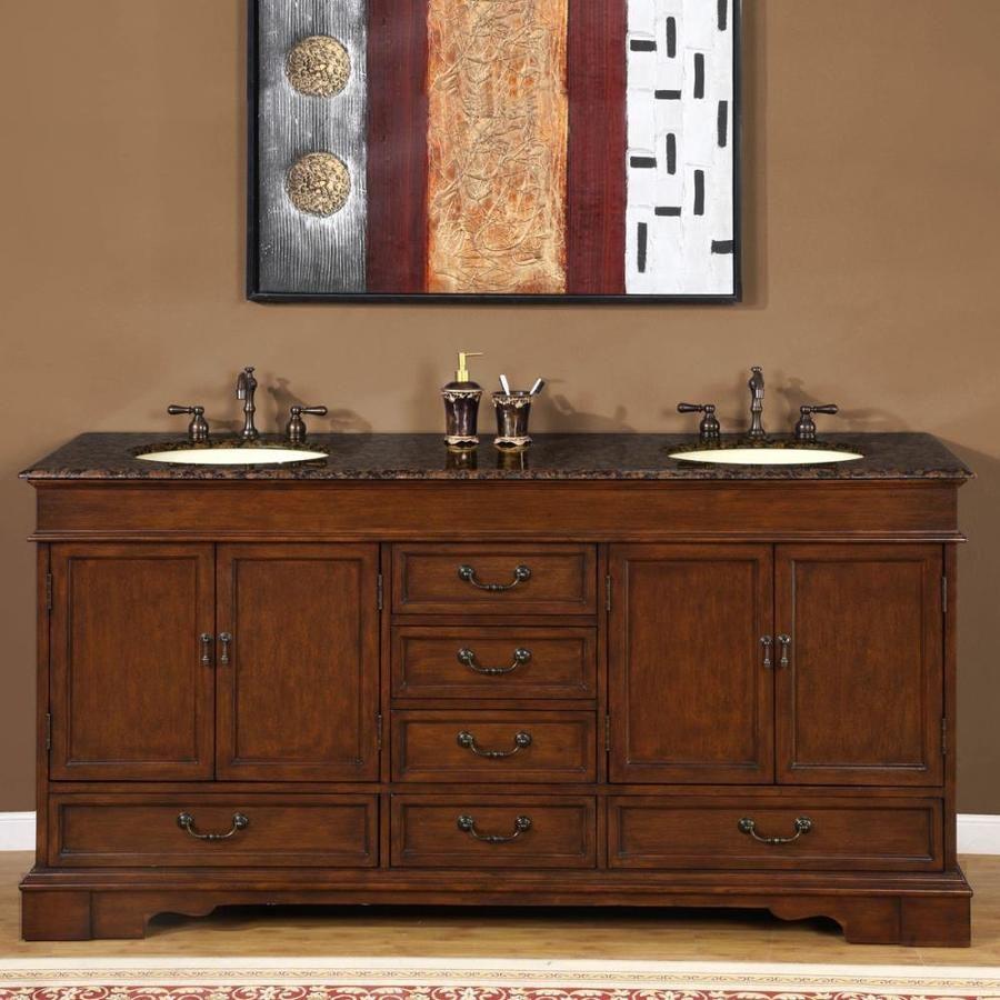 Silkroad Exclusive 72 In Red Chestnut Double Sink Bathroom Vanity