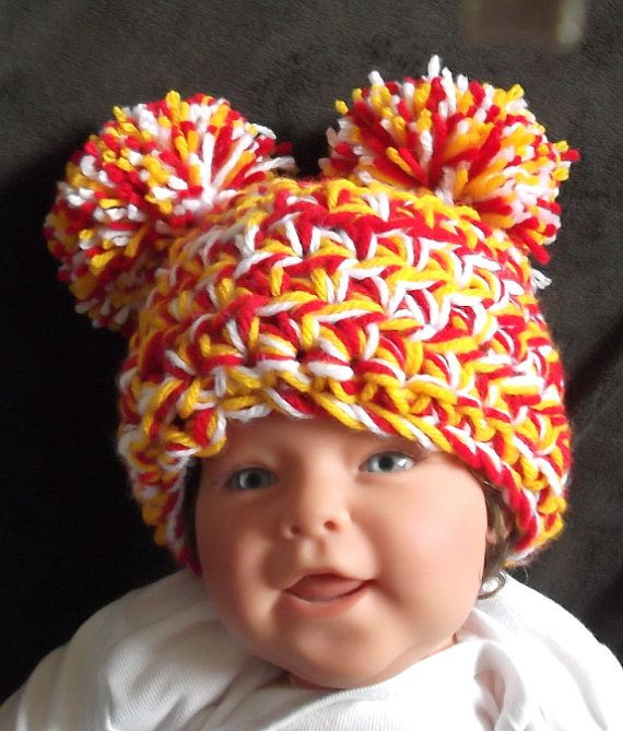 becf263f68f706 Kansas City...Chiefs... NFL Baby Girl or Boy...3 to 6 Month & 6 to 9 Month  sizes...Red, Yellow and White Pom Pom Hat..READY to SHIP on Etsy, $10.90