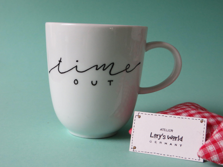 Kaffeetasse aus Porzellan handbemalt in Handlettering Time out, weiße Tasse individualisierbar als Geschenk, Becher personalisierbar