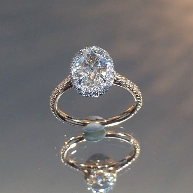 1 31 Ct Oval Diamond Two Tone Halo Engagement Ring Two Tone Engagement Rings Wedding Rings Engagement Wedding Rings Halo