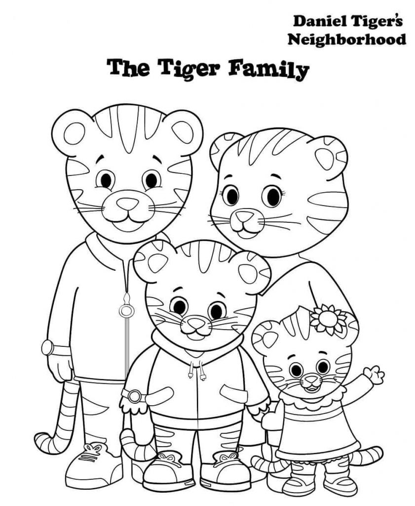 Daniel Tiger Family Coloring Pages Daniel Tiger Tiger Birthday