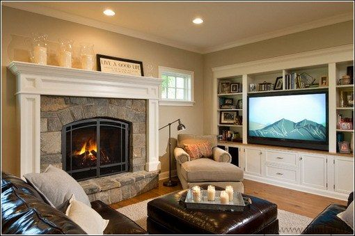 Small Living Room Fireplace Tv Diy Built In Shelves With And On Opposite Walls Remodel