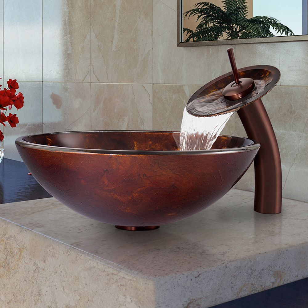 Vigo Brown and Gold Fusion Glass Vessel Sink and Waterfall Faucet