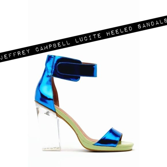 *RARE* Jeffrey Campbell Blue and Mint Sandals! Rare Jeffrey Campbell Sandal. Electric blue and mint color. Size 8.5. Vegan leather upper. 4.5 inch Lucite heel. .5 platform. Velcro ankle strap. Gently used (only worn a few times). Statement shoe! Perfect for Spring & Summer!!! Jeffrey Campbell Shoes Sandals