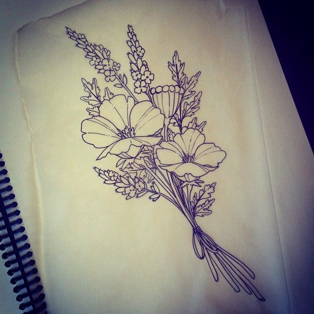 This popy and lavender bouquet will be fun to tattoo!