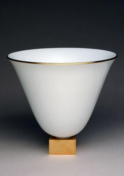 Vase ruhlmann 3 white and gold decor