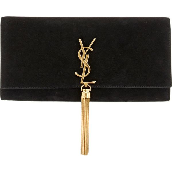 Saint Laurent Monogramme Long Clutch ($1,550) ❤ liked on Polyvore featuring bags, handbags, clutches, black, tassel purse, black suede handbag, yves saint laurent purses, black handbags and black suede purse