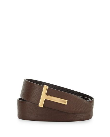 bbd229eeb2 TOM FORD Reversible Leather Logo Belt