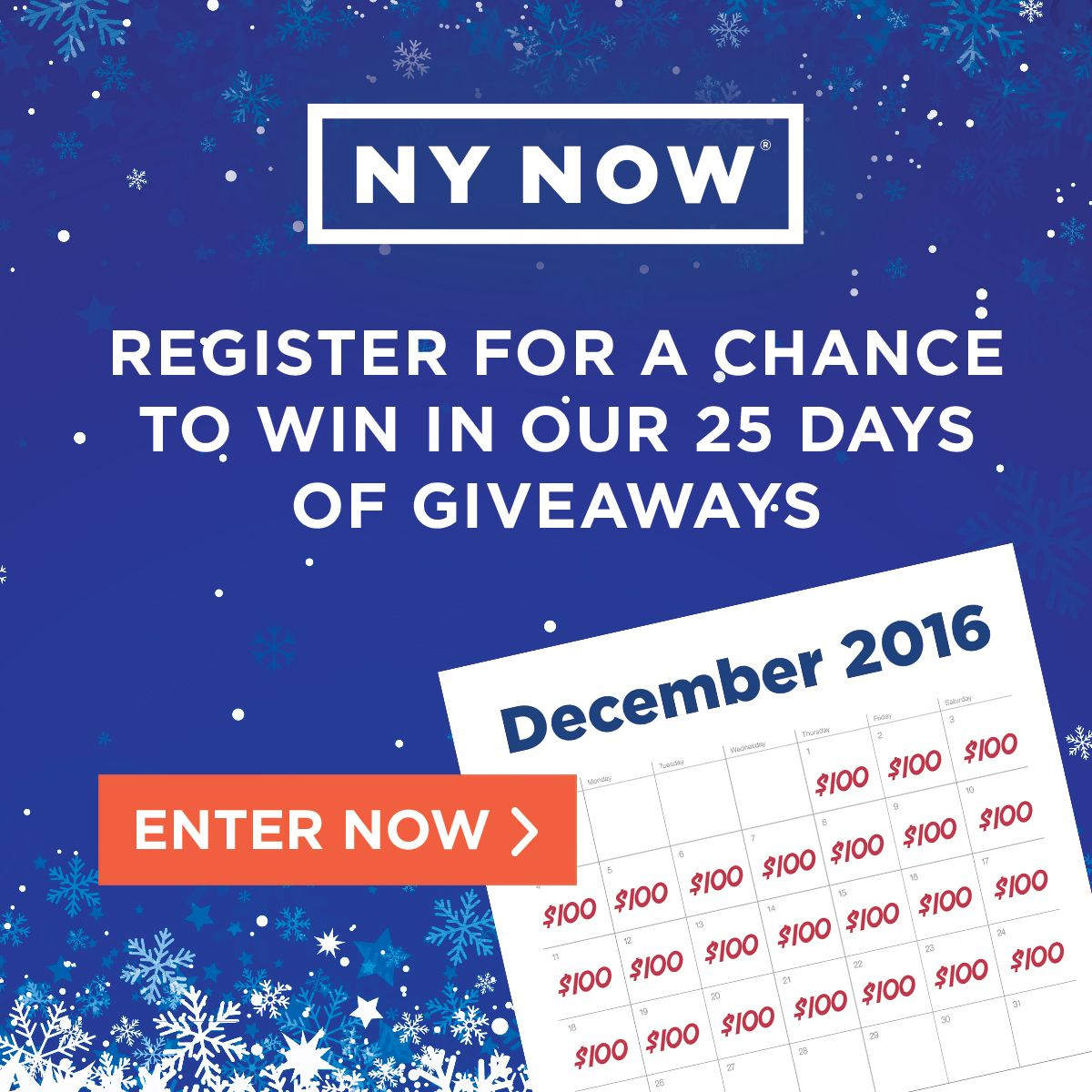 NY NOW is making spirits bright by giving away 25 $100 gift cards – register by 12/25 for a chance to win! (Sponsored)
