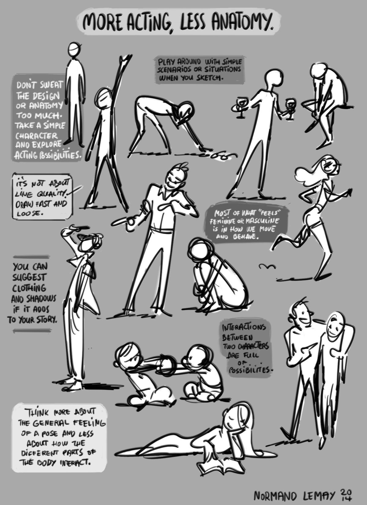 Another Guide To Cartoon Poses This One Focusing On Less Anatomy More Acting For More Expressive Poses Gesture Drawing Art Reference Character Drawing