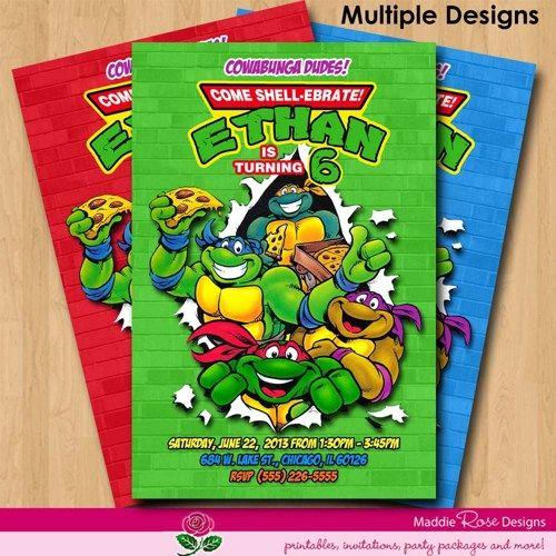 Teenage Mutant Ninja Turtles Invitation Printable TMNT Birthday Party You Print Custom Personalized Digital Photo Card 4x6 Or 5x7