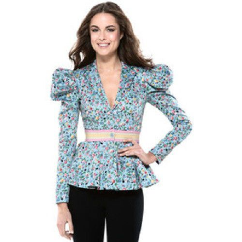 Betsey Johnson Blue Garden Delight Flower Runway Peplum Flounce Blazer Jacket 10 | eBay