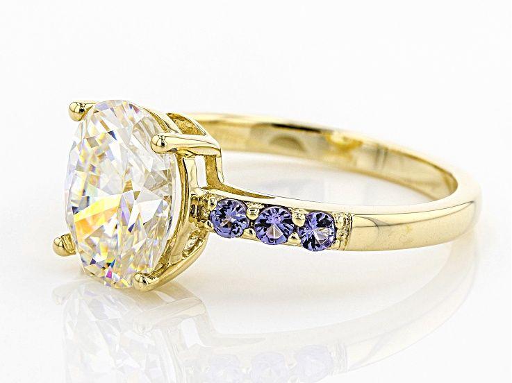 White Fabulite Strontium Titanate And Tanzanite 10k Gold Ring 3 51ctw Mrk016 10k Gold Ring Rings Stone Jewelry