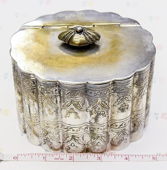 Decorative Metal Storage Container With Scalloped Edge Design And Hinge  Lid. It Hasnu0027t Been Polished Yet, But It Should Clean Up Nicely! Marked On U2026