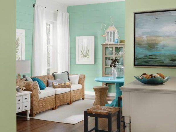 mintgrün wohnzimmer rattan möbel wandfarben grün | Flur ...