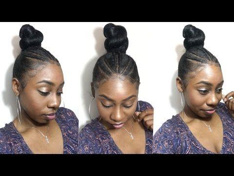 Triangle Part Cornrow Braids And High Bun Top Knot Silky Slick Ponyt Natural Hair Braids Hair Braid Guide Natural Hair Styles