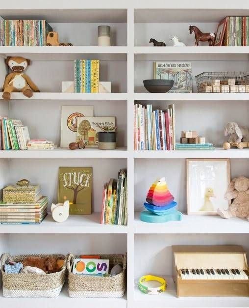 20 kid room shelves with styling you ll want to copy the kid s rh pinterest com Bookshelves with Books Unique Bookshelves