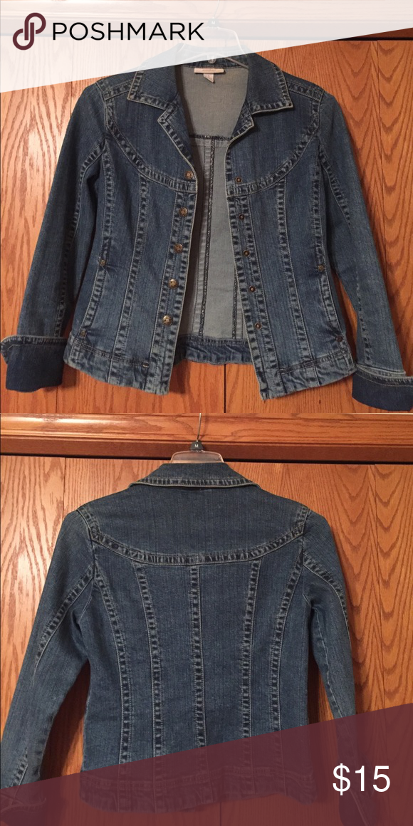 bb4fcd53374 Dress Barn jean jacket. Excellent quality. Adorable fitted jean jacket.  Says size small but would also fit a medium if you are not too busty.