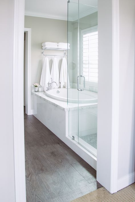 Neutral Bathroom Great Look To Have Glass Surround Instead Of 1 2 Wall In Between Tub And Shower Bathroom Remodel Master Bathroom Makeover Bathroom Design